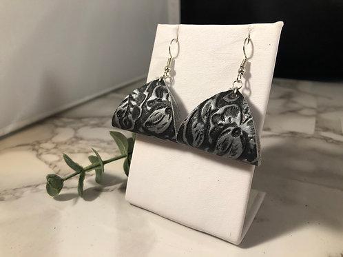 Black & Matte Silver Floral Loop Earrings