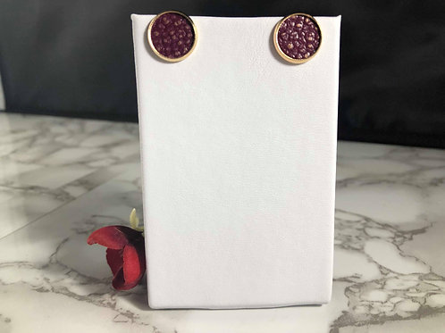 Deep Wine Genuine Leather with Gold Texture in a Gold Stud