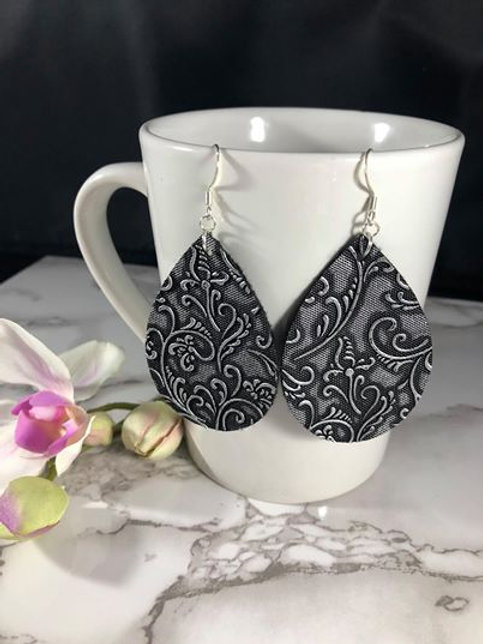 Black and Silver Swirl Floral Faux Leather Teardrop Earrings