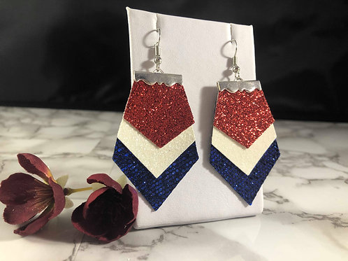 Red White & Blue Glitter Faux Leather Earrings