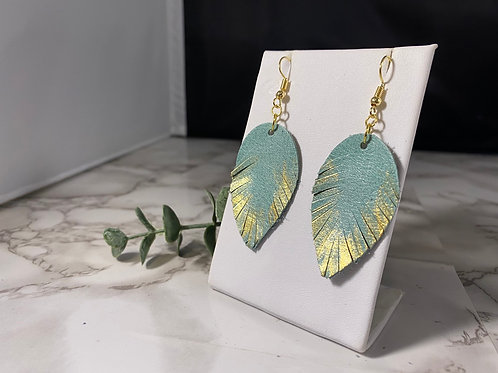 Robins Egg Blue & Hand Painted Gold Genuine Leather Fringe Earrings