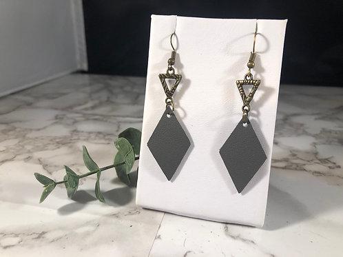 Gray & Bronze Genuine Leather Geometric Earrings