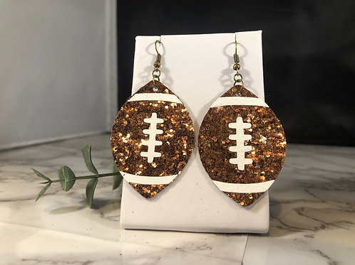Brown Glitter Faux Leather Football Earrings