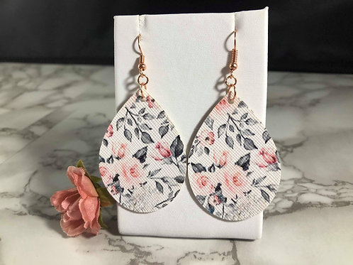 Blush, Gray & White Floral Faux Leather Teardrop Earrings
