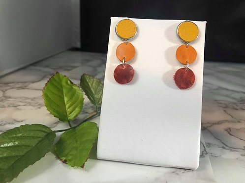 Mustard Yellow, Pumpkin Spice Orange, and Rust Red Genuine Leather Earrings