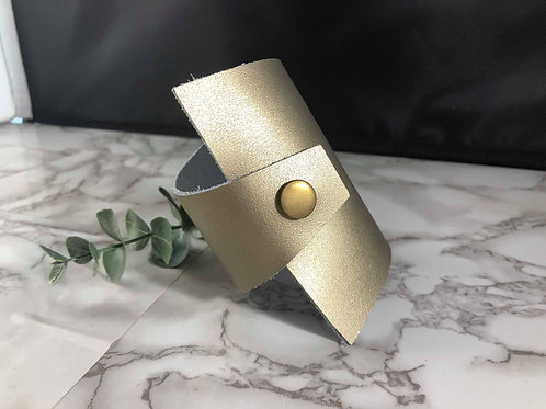 "Ultra Unique Thick-to-thin ""Lyssa"" Style Gold Genuine Leather Cuff Bracelet"