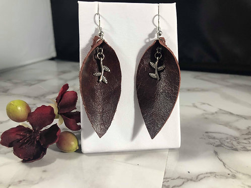 Mahogany Recycled Genuine Leather Earrings with Branch