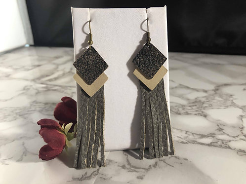Brown, Tan & Gray Recycled Genuine Leather Fringe Earrings