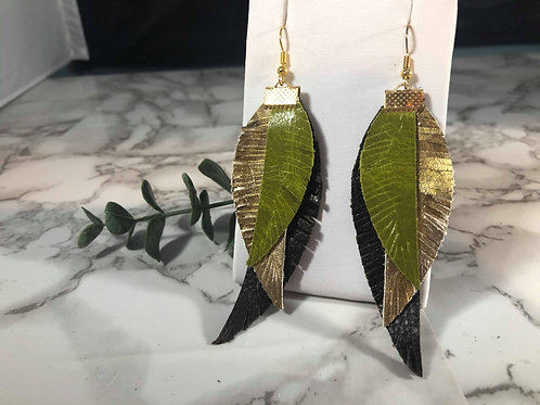 Olive Green, Metallic Dark Gold & Dark Brown Genuine Leather Fringe Leaf Earring