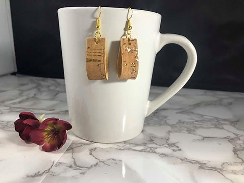 Gold Cork Faux Leather Loop Earrings