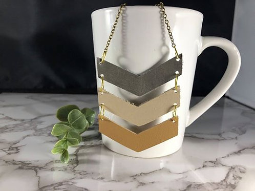 Genuine Leather Chevron Necklace - Neutrals & Mixed Metals