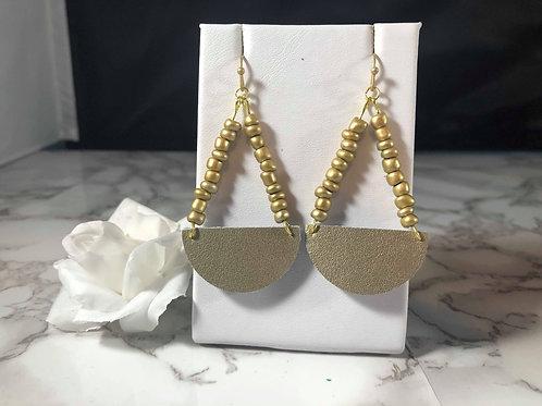 Matte Gold Genuine Leather Beaded Earrings