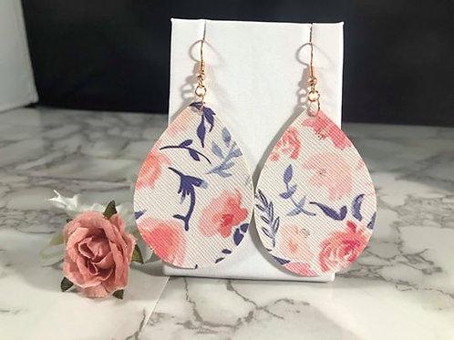 Blush & Navy Floral Faux Leather Teardrop Earrings