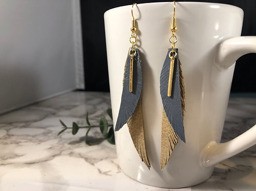 Denim & Sand Genuine Leather Fringe Feather Earrings with Gold Bar