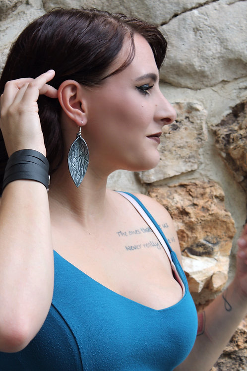 Black Recycled Genuine Leather Earrings with Metallic Silver Hand Painting
