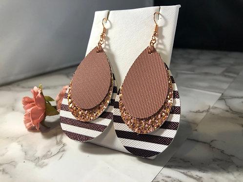 Black & White Stripe, Rose Gold Glitter & Dusty Rose Faux Leather Earrings