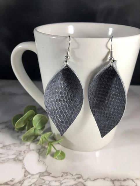 Gray-Blue Crocodile Texture Faux Leather Petal Earrings