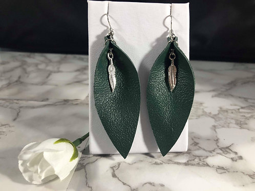 Emerald Green Recycled Genuine Leather Earrings with Feather Charm