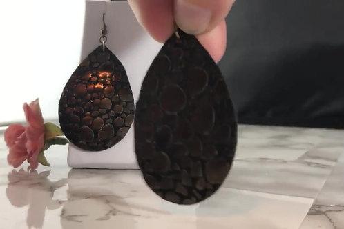 Black & Metallic Bronze Bubbles Genuine Leather Teardrop Earrings