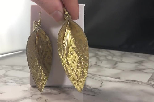 Gold Patterned Genuine Leather with Gold Metal Charm Earrings