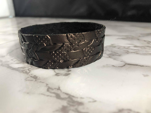 Metal-Look Brown Textured Faux Leather Cuff Bracelet