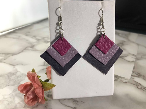 Magenta, Lilac, & Grape Genuine Leather Square Layered Earrings