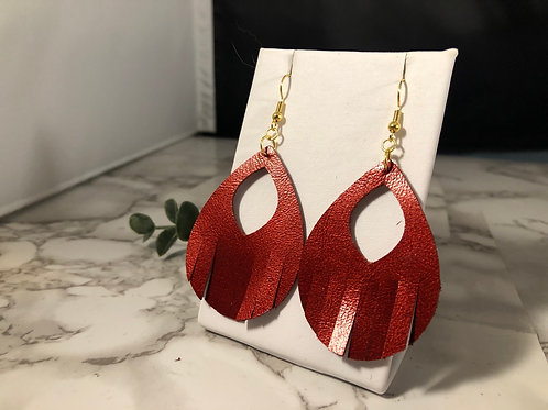 Metallic Cherry Red Fringe Cut Out Earrings