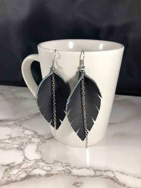 Shimmering Black Recycled Genuine Leather Feather Shaped Earrings with Chain