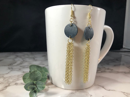 Navy Recycled Genuine Leather & Gold Chain Shoulder Duster Earrings