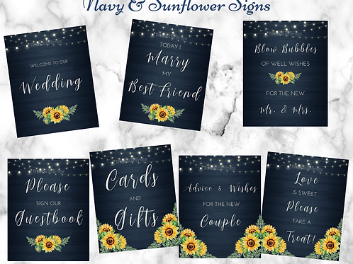 Navy and Sunflower 7 printable wedding signs 8x10