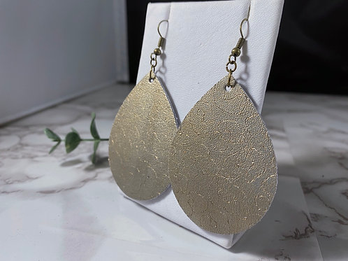 Leopard Etched Matte Gold Genuine Leather Teardrop Earrings