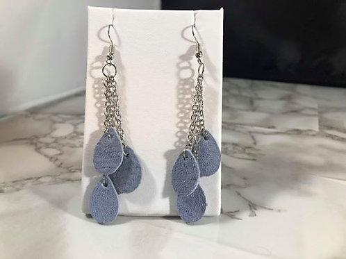 Periwinkle Recycled Genuine Suede Mini Teardrop & Chain Earrings