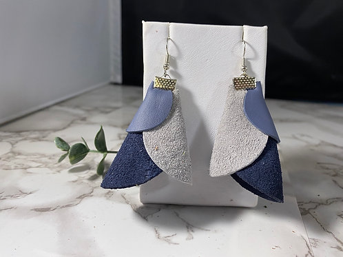 Cone Shaped Blue & Gray Recycled Genuine Leather Earrings