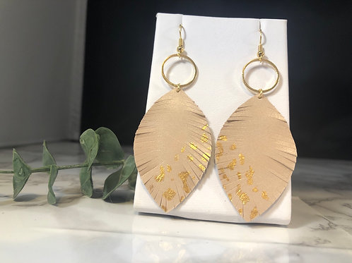 Ballet Pink & Gold Metal Genuine Leather Fringe Earrings