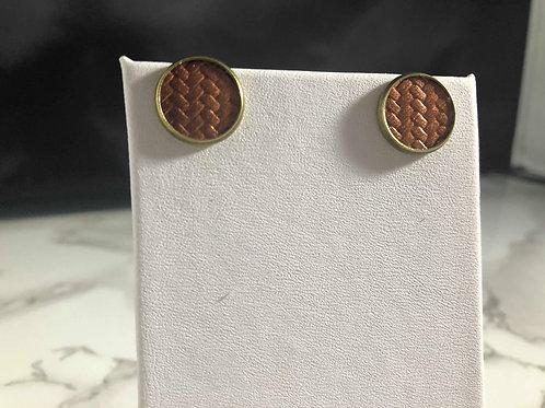 Copper Carbon Fiber Faux Leather Stud Earrings