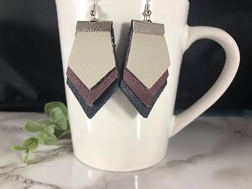 Purple, Navy and Gray Recycled/Upcycled Genuine Leather Layered Earrings