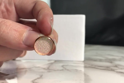 Iridescent Blush Pink Glitter Faux Leather Stud Earrings