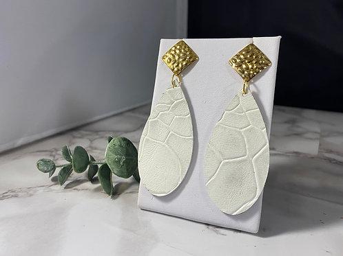 White Crocodile Textured Genuine Leather Earrings