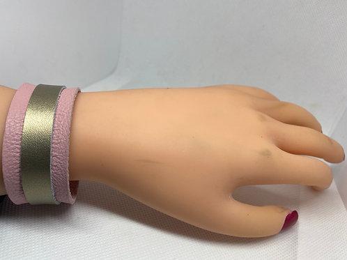Blush Pink & Matte Gold Genuine Leather Bracelet
