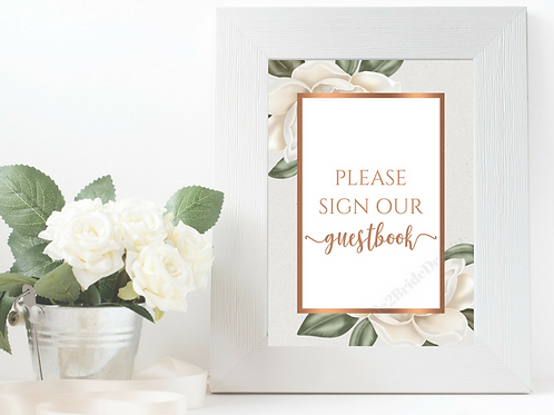 Copper Magnolia 8x10 Guestbook Sign Printable