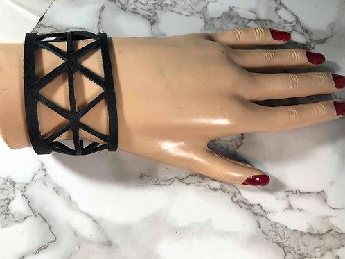 Black Triangle Cut-out Genuine Leather Cuff Bracelet