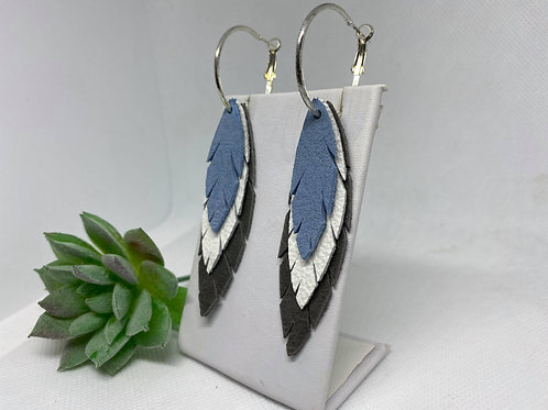 Felt-Look Blue, White & Gray Feather Hoops