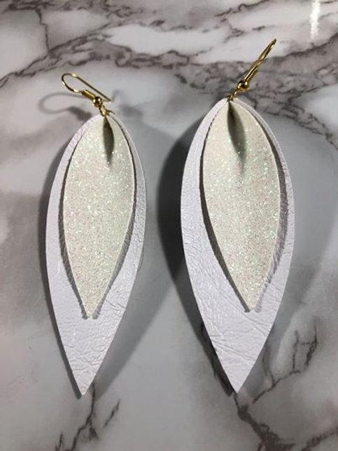 White-Out Long Petal Shaped Glitter Faux Leather Earrings