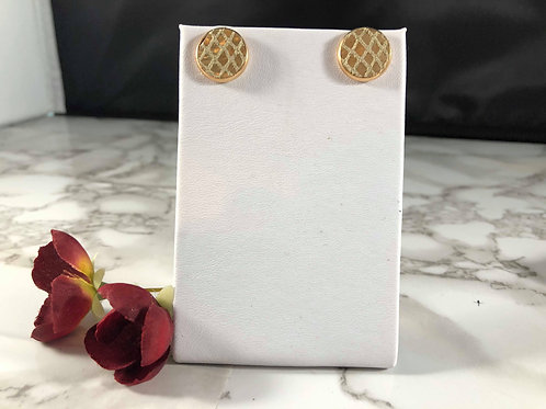 Gold Diamond Patterned Genuine Leather Stud Earrings