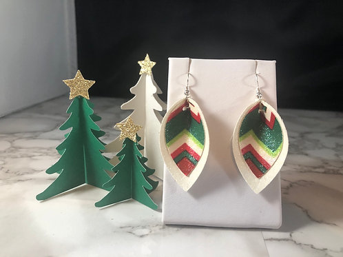 Red, Green & White Striped Glitter Faux Leather Pinched Petal Earrings