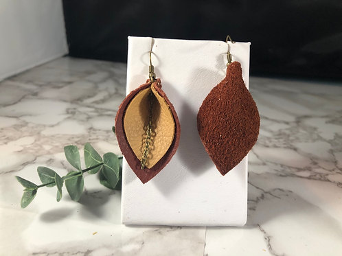Rust Red & Honey Recycled Genuine Leather Earrings with Bronze Chain