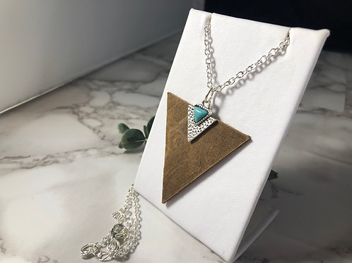 Medium Brown Genuine Leather Triangle Necklace with Silver and Turquoise