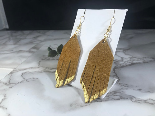 Cider Brown Genuine Suede with Hand Painted Gold Fringe Earrings