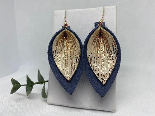 Denim & Metallic Rose Gold Genuine Leather Earrings