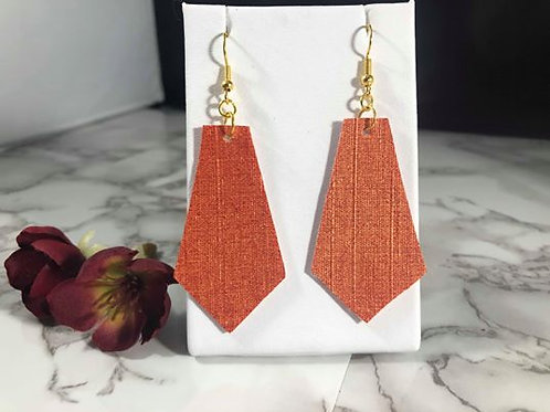 Sunset Orange/Gold Shimmer Faux Leather Earrings